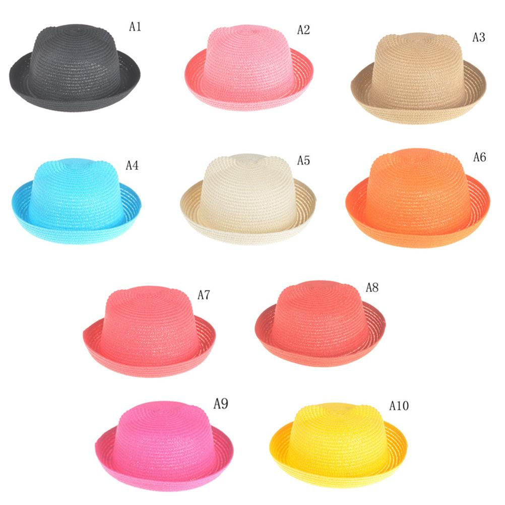 2019 Kids Solid Beach Panama Caps Fashion Ears Straw Hats Baby Hats For  Girls Bucket Hat Boys Cap Children Sun Summer Cap From Sightly f45ca4792966