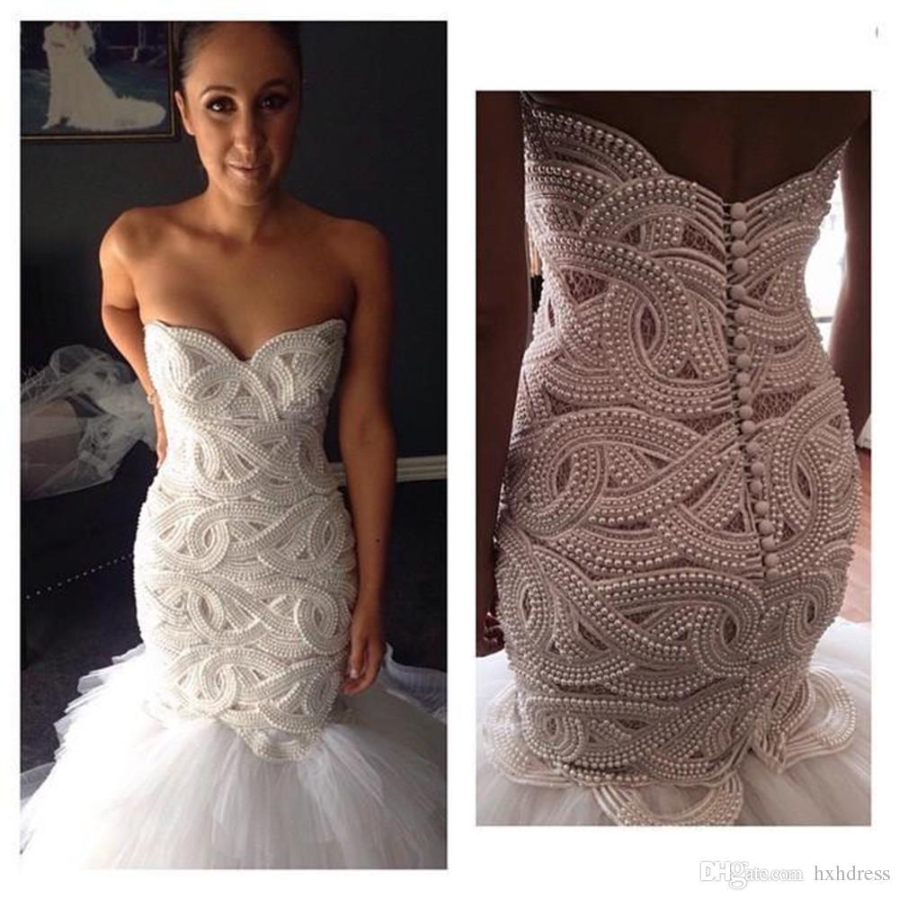 2018 New Heavy Handworks Luxury Pearls Mermaid Wedding Dresses Sweetheart Gorgeous Long Bridal Gowns Sweep Train Customize vestisdos de