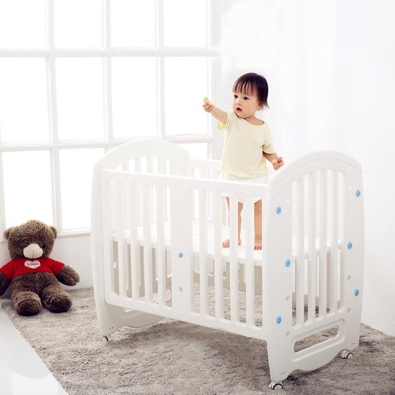 Baby Cot Non-toxic PE Plastic Material Crib For Infant Multifunctional Game  Bed Writing Desk For Kid From Newborn To 6 Years Old