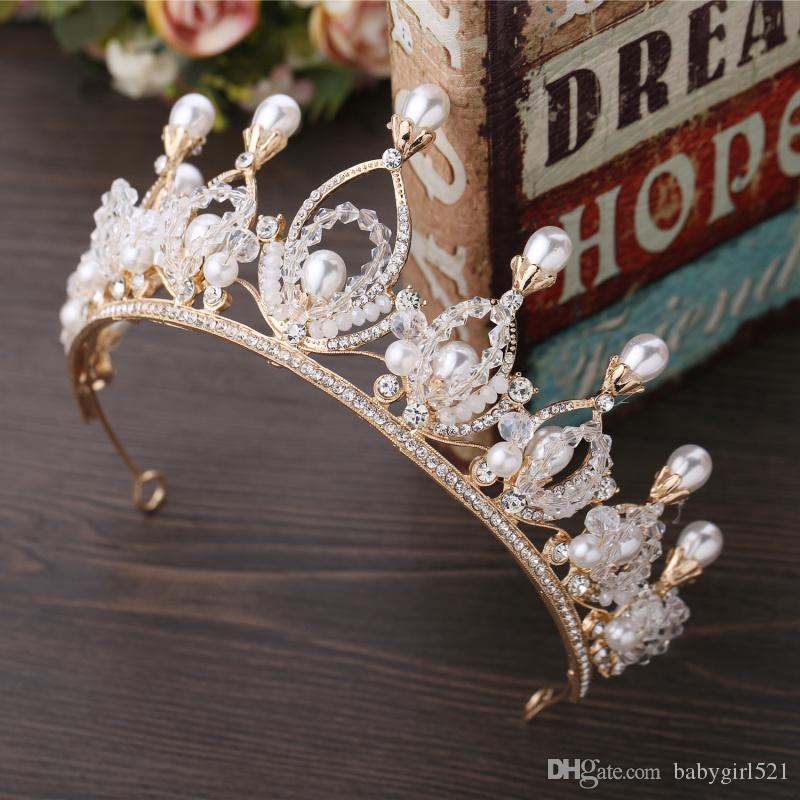 2019 Elegant Wedding Bridal Crown Hair Accessories Crystal Beads Pearls Tiara Headband Hair Accessories for Party Head Dress Hot Sale