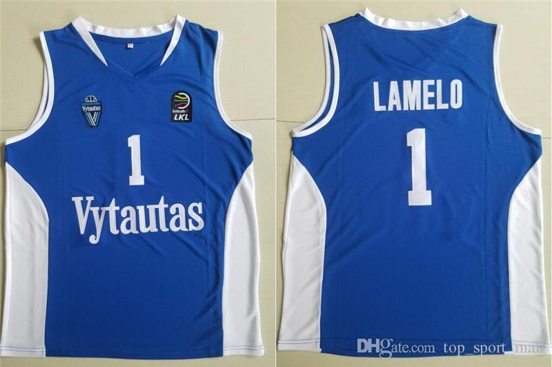 رجال ليتوانيا Prienu Vytautas كرة السلة قميص 1 LaMelo Ball Jersey 3 LiAngelo Ball Uniform 99 LaVar Ball All Stitched Good Team أزرق أبيض