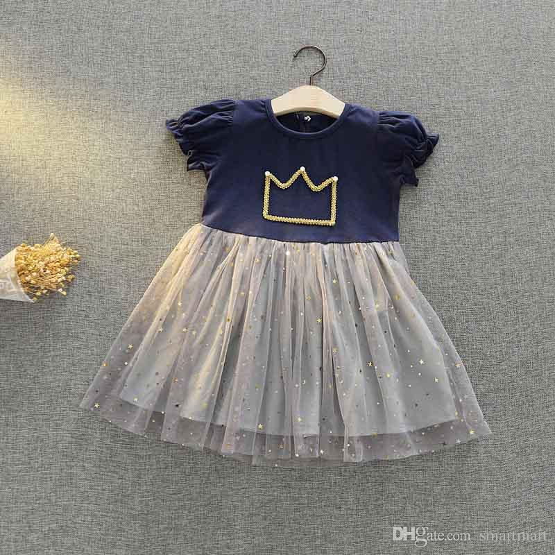 7f5a538e51b2 2019 Everweekend Kids Girls Stars Tulle Crown Party Dress Vintage Candy  Blue And Pink Color Cute Children Summer Fashion Dress From Smartmart