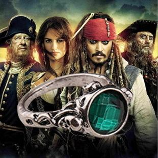 Wholesale Couple Rings Pirates Ring Captain Jack Sparrow Death Finches Skull Green Crystal Stone Vintage Skull Rings
