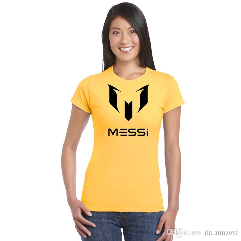 4561af1d53e Lionel Messi T Shirt Barcelona Women s Short Sleeve T-shirt Summer Ladies  Basic Tshirts Girl Top Tees World Cup Argentina fans Jersey