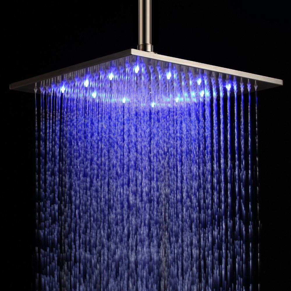 2019 Modern 12 Inch 30x30cm Led Stainless Steel Rain Shower Head