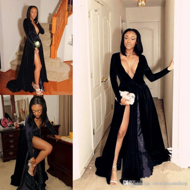 0b55e7aafbea Hot Sexy Deep V Neck Evening Gowns Black Long Sleeves High Split African Prom  Dresses Custom Made Cocktail Formal Party Dress Short Red Prom Dresses ...