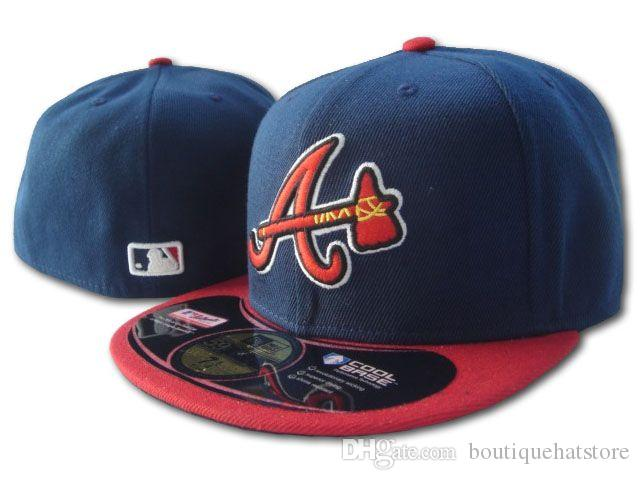 Men S Braves Fitted Hat Flat Brim Embroiered Team A Letter Logo Fans  Baseball Hats Cheap Baseball Caps Braves On Field Full Closed Cap Navy Hats  Online Cap ... f1ac135923a8