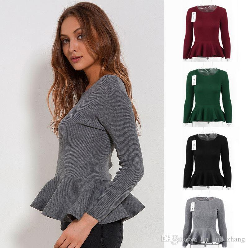 5e1b05b370 2019 Ruffle Knitted Sweater Women Peplum Tops Autumn Spring 2018 Slim Pullover  Long Sleeve O Neck Casual Women Sweaters And Pullovers From Lin and zhang