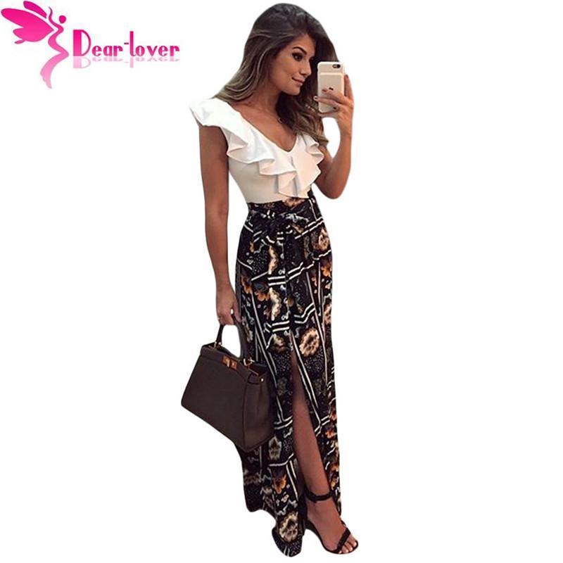 fc32052894 Compre Estimado Amante Vestido Largo Verano Elegante Mujer Vestidos Largos  Cariño Volantes Top Mix Vestido Maxi Vestido Robe Longue Femme  LC61274Y1882302 A ...