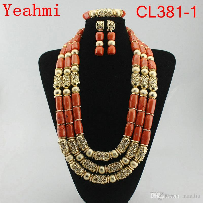 2018 Big Coral Beads African Jewelry Set Fantastic Wedding Coral Bridal Beads Jewelry Set Women Statement Jewelry Set CL381-1
