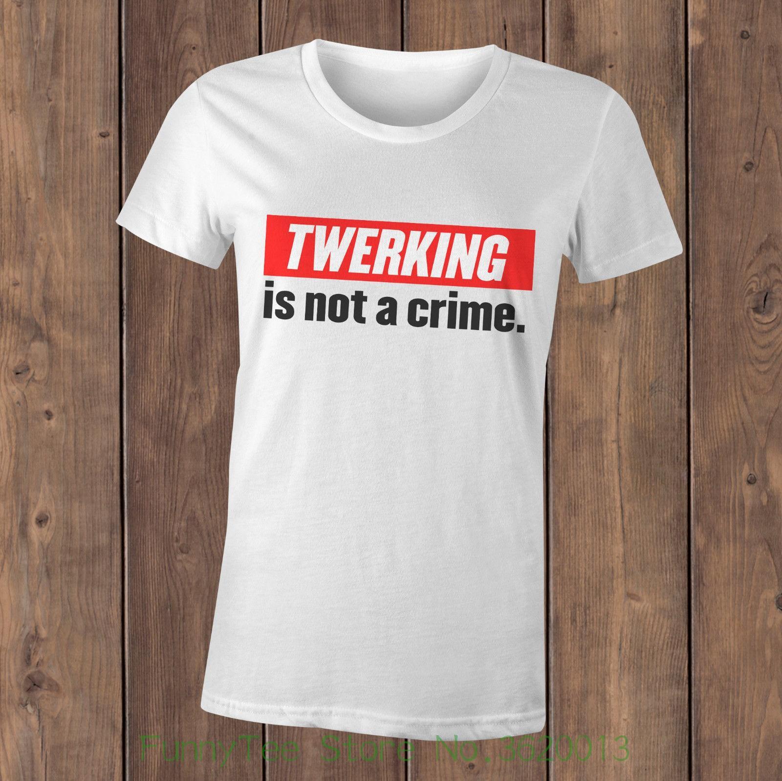 Compre Mujer Es Una Crimen Camiseta De No Twerking qfwvq6r