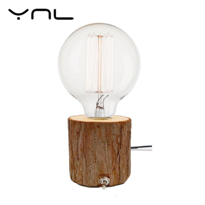 YNL Edison bulb Incandescent lamp E27 Table Lamp Bedside Cafe Night Light Retro Vintage Diamond Solid Wood Lampholder EU/US Plug