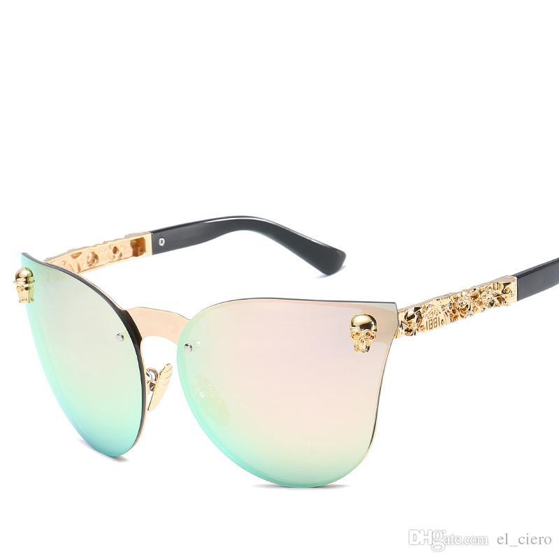 Compre Calavera Marca De Lujo Diseñador Gafas De Sol Para Mujeres Cat Eye  Sunglasses Vintage Sin Montura Espejo Sin Montura Cateye Gafas Gafas De Sol  A ... c05be0a12027