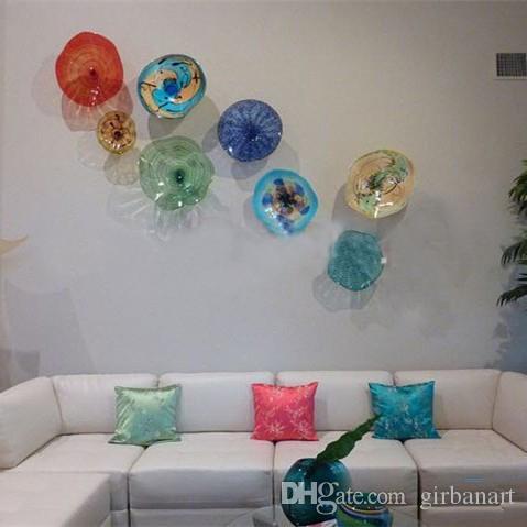 Moderno Tiffany coloreado vidrio placas colgantes arte de la pared decoración del hogar India estilo europeo flor de Murano vidrio placas arte de la pared