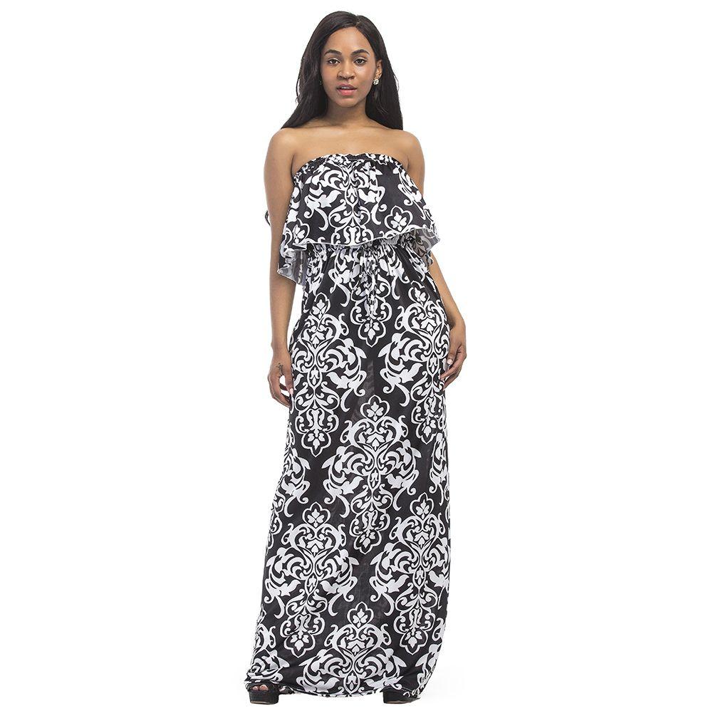 Vintage Women Plus Size Dress Ethnic Contrast Printed Strapless  Floor-length Dress Bandeau Ruffle Open Back Maxi Gown Long Dress