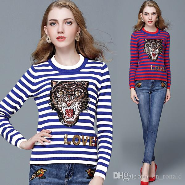83ac90e746 Women s Sweaters Luxury Brand Classic Knitted Tiger Sequins ...