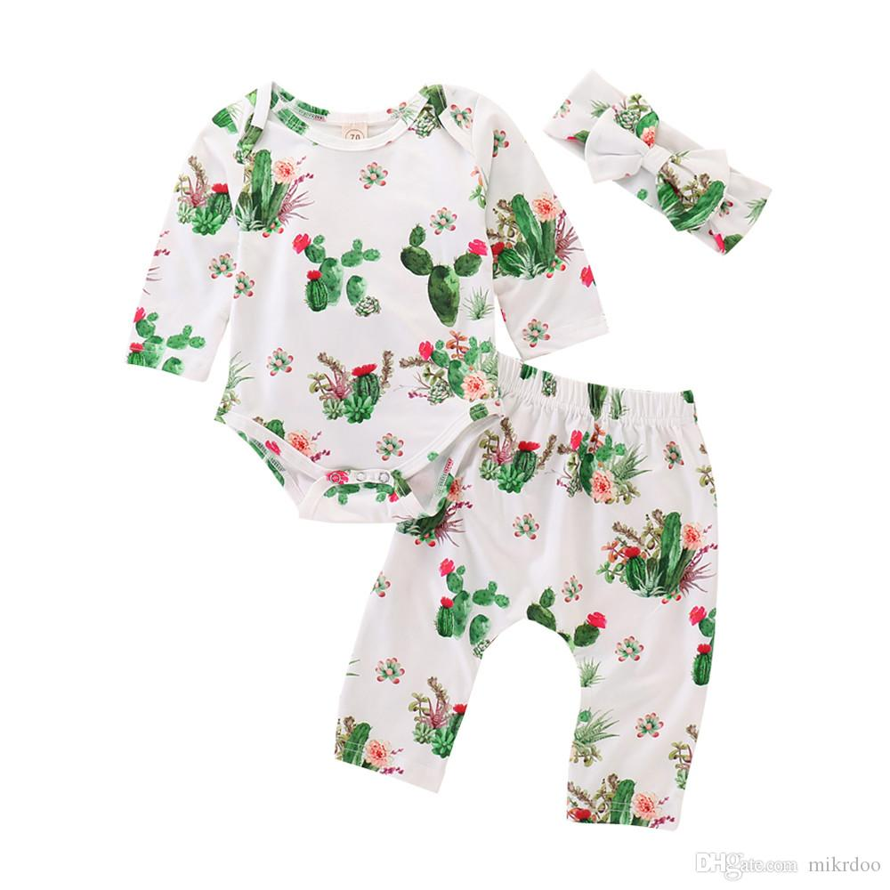 7e2f6bf23771 2019 Mikrdoo 2018 New Arrived Toddler Baby Boys Girls Cotton Clothes Set  Long Sleeve Romper + Pant + Headband Cactus Printing Outfit From Mikrdoo