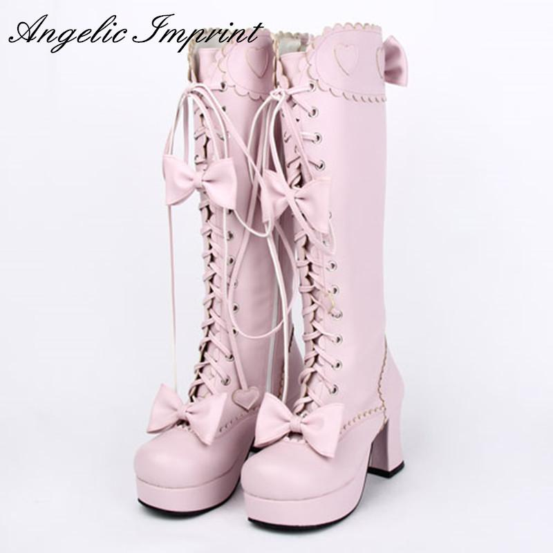 d95b568b5d3 Japanese Sweet Lolita Cosplay Boots Ss Girl Lace Up Bowtie Chunky High Heel  Martin Boots Ankle Boot High Heel Shoes From Bestname