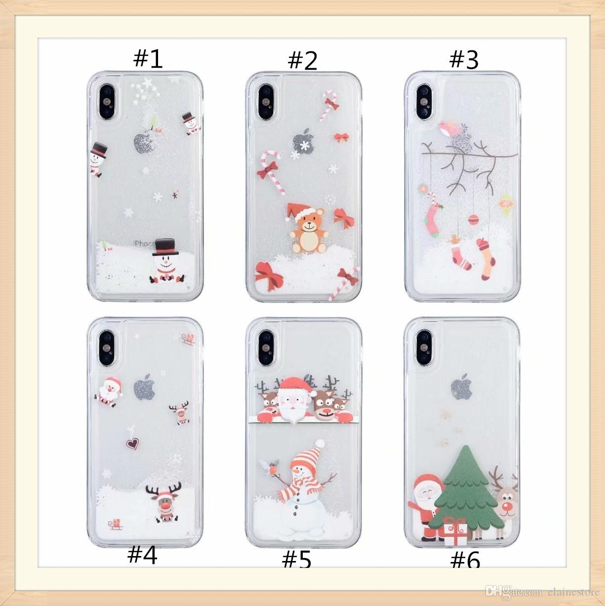6dba1d980f9 Fundas Movil Baratas Caja Del Teléfono Para El Iphone X XR XS XSMax Navidad  Copo De Nieve Brillo Arenas Movedizas TPU Estuche Blando Para Iphone 6 6S 7  8 ...