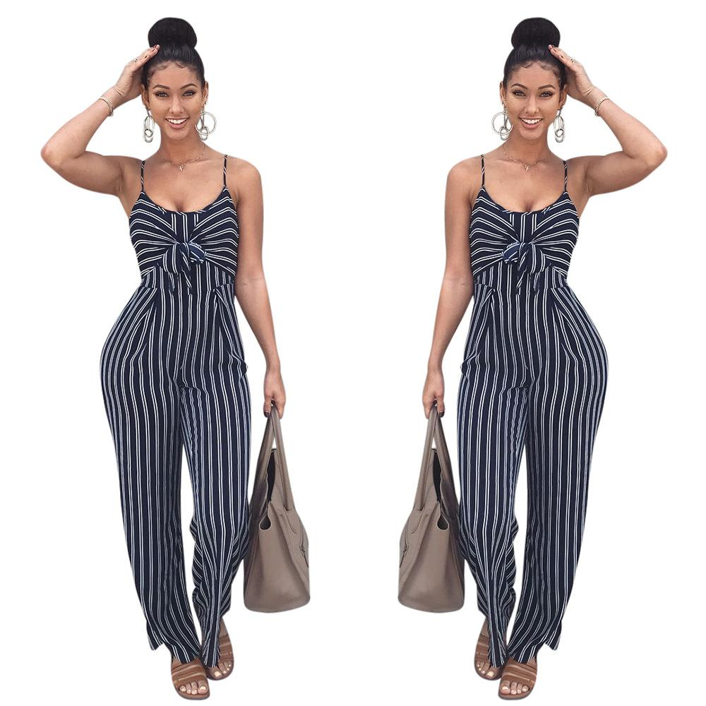 7bb54211d32 2019 Elegant Striped Sexy Spaghetti Strap Rompers Womens Jumpsuit Sleeveless  Backless Bow Casual Wide Legs Jumpsuits Leotard Overalls K8326 From ...
