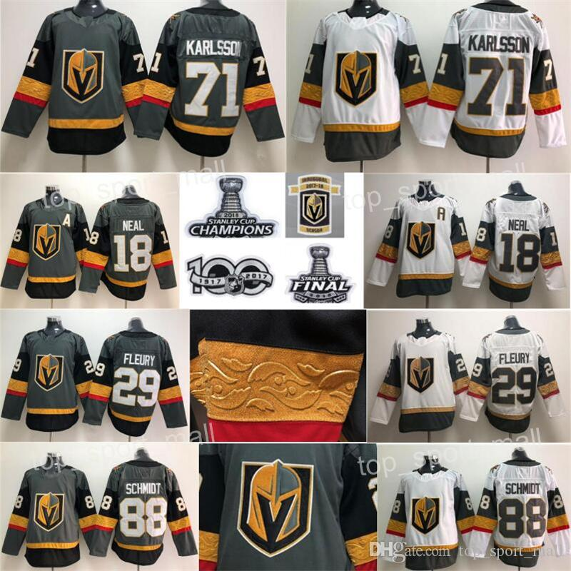 buy online 6219b 2d12c 2018 Stanley Cup Finals Patch Vegas Golden Knights Hockey 71 William  Karlsson 88 Nate Schmidt Jerseys Champions Inaugural Season 100th Grey