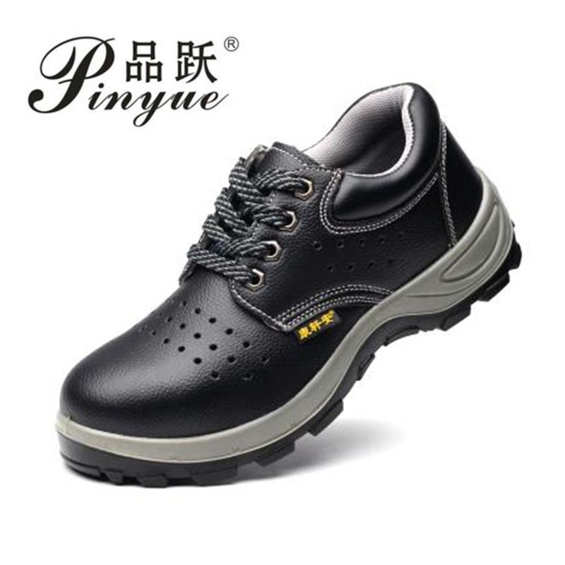 07ac1e12c3e Solid Breathable Anti Odor Safety Shoes Male Work Shoes Steel Toe Cap  Covering Wear Resistant Oil Cowhide Size 36 45 Chelsea Boots Shoes Online  From ...