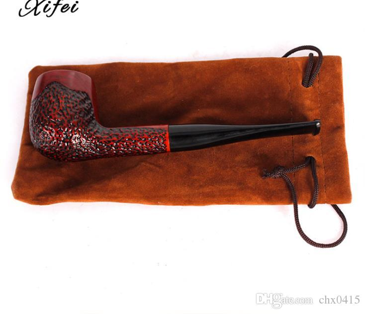 Novo tubo de mogno haste reta filtro para homens acessórios de fumar cachimbo de sândalo vermelho portátil