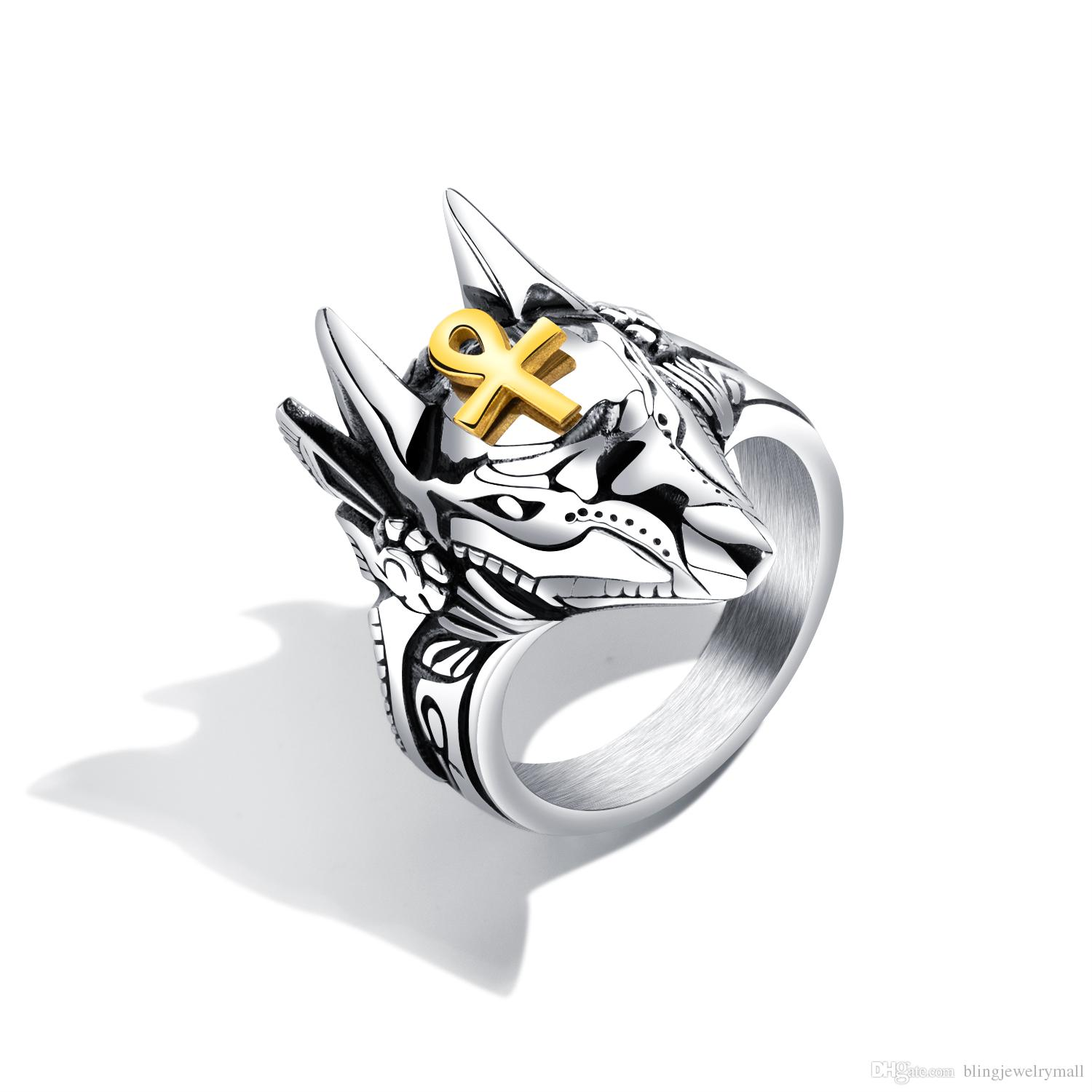Punk Anubis Egyptian Cross Beast Ring For Men Stainless Steel Ankh Cross Design Motorcycle Finger Ring Cool Jewelry Gift GJ626