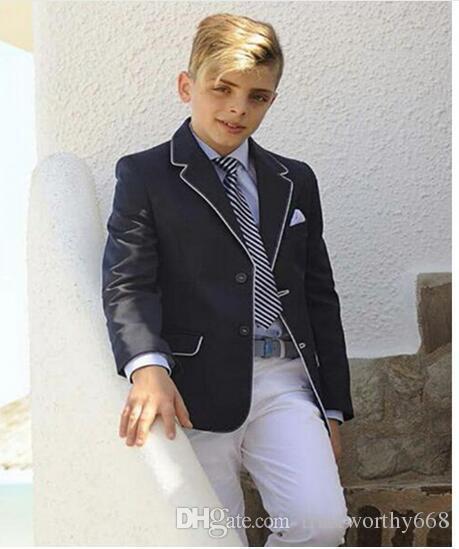 b67372bbffc70 Acheter Beau Deux Boutons Cran Revers Enfant Noir Designer Complet Costume  De Mariage Beau Garçon Tenue De Garçons Sur Mesure Veste + Pantalon +  Cravate De ...