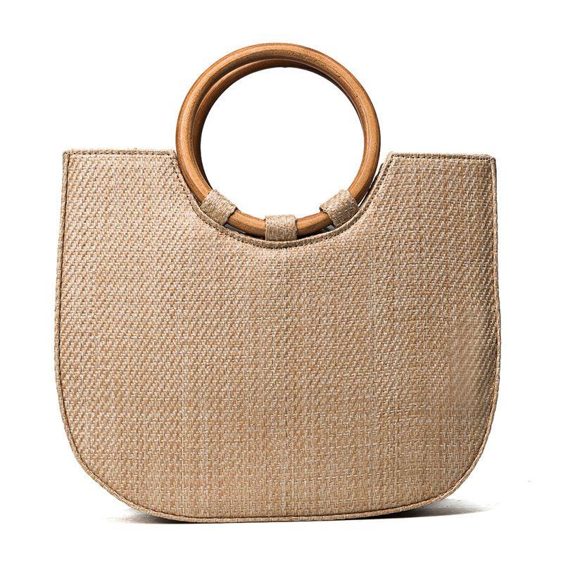 Factory Direct Sale Summer Korea East Gate Ring Wooden Handle Woven Handbag  Grass Straw Beach Single Shoulder Bag Wholesale Purses For Sale Womens  Purses ... 3e79ad43b