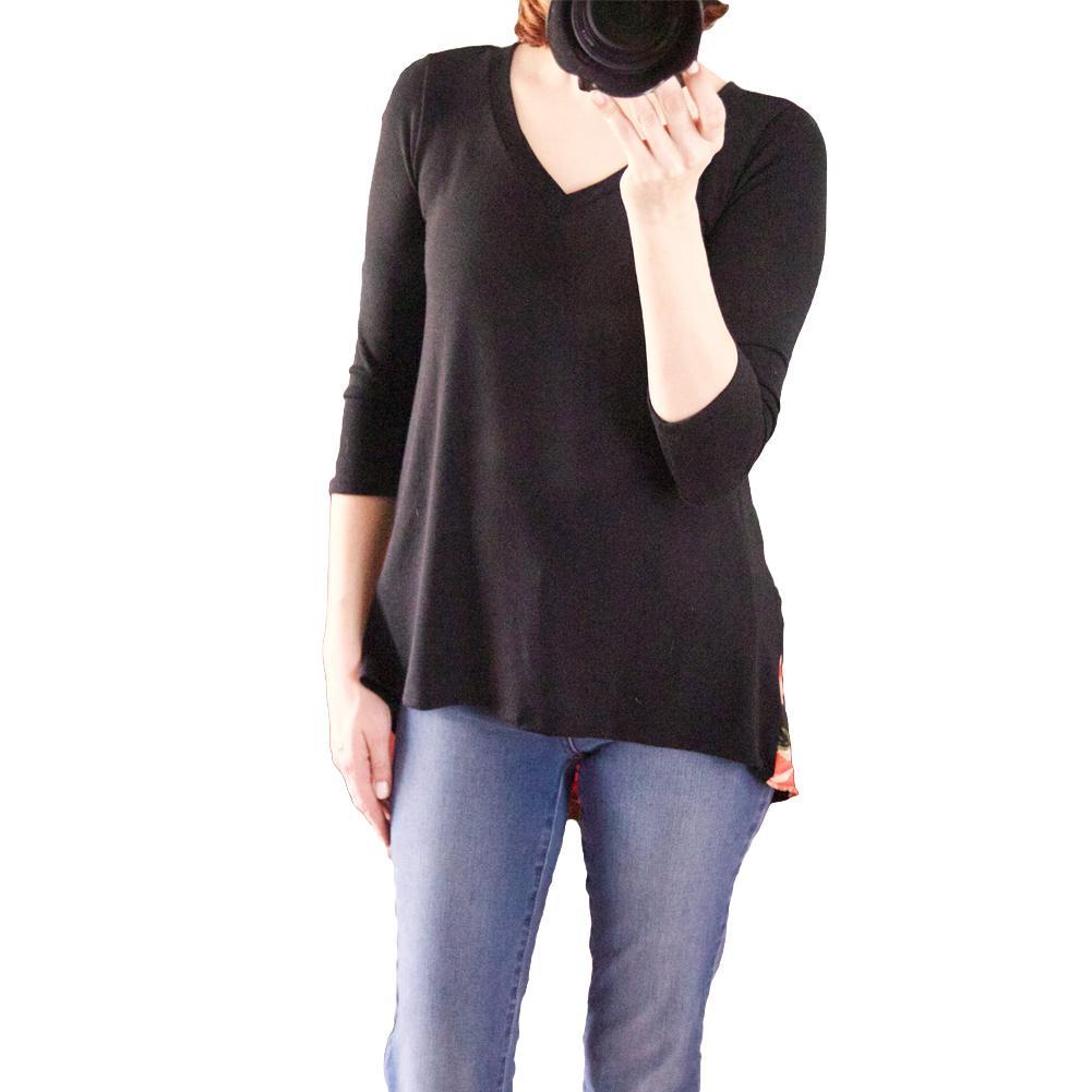 10cbb1dc9 Compre Nova Moda Feminina T Shirt De Emenda Impressão Floral Mergulhado  Alta Baixa Assimétrica Hem V Pescoço Três Quartos Manga Causal Tops Preto  De ...