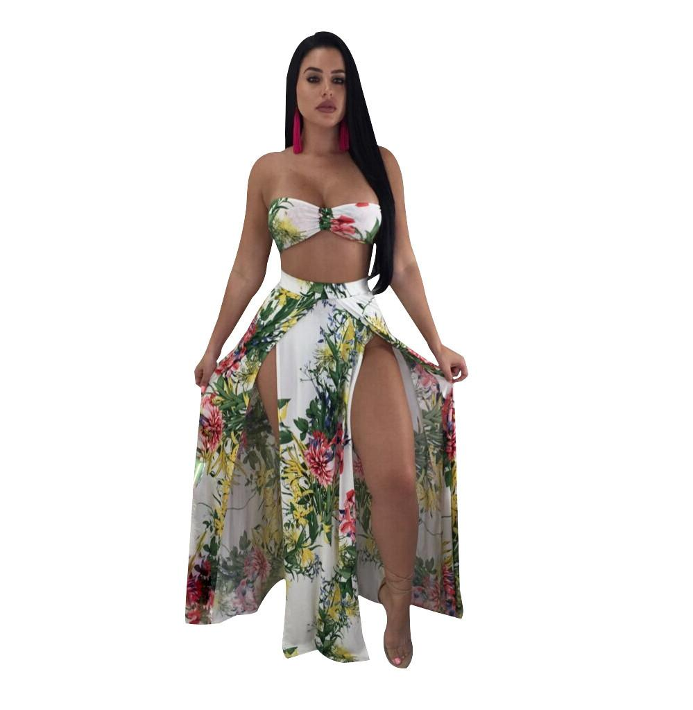 0bfb24fce5 2019 Beach Wear Sexy Set Ladies Summer Strapless Crop Top And Fit Slim  Shorts Double Side High Split Maxi Dress Top Quality From Alice an