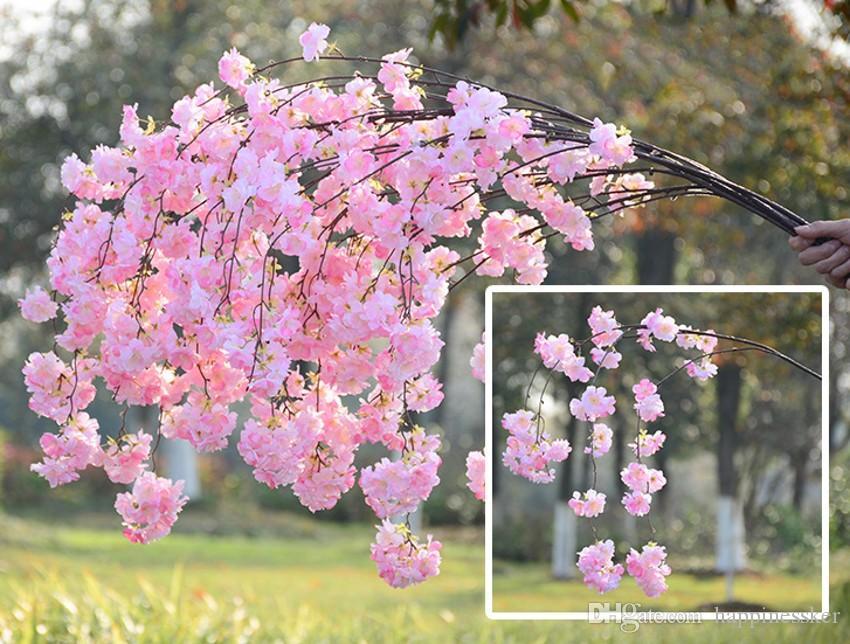 Artificial Cherry Blossom Branch Flower Wall Hanging Sakura 140cm for Wedding Centerpieces Artificial Decorative Flowers