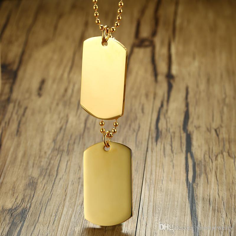 Os homens personalizam o colar dobro do pendente do Tag de cão no aço inoxidável - prata, ouro, preto