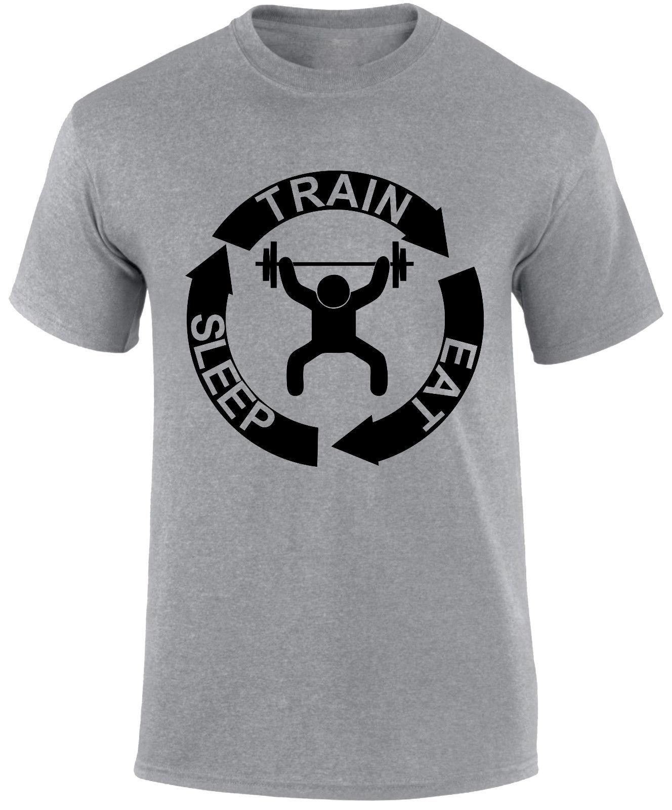 76dc2294 Details Zu Train Sleep Eat Cycle Workout Gym Fitness Sports Crossfit Fun  Slogan Men T Shirt Funny Unisex Tee Shirt And Tshirt Create Your Own T  Shirt Design ...