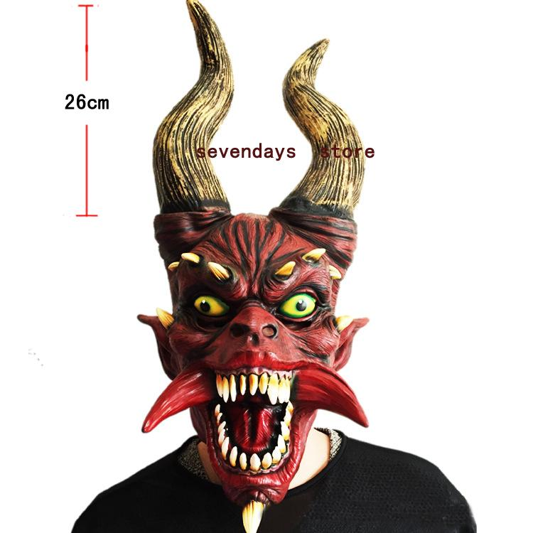 2018 New Scary Adult Costume Horn Zombie Mask Horror Party