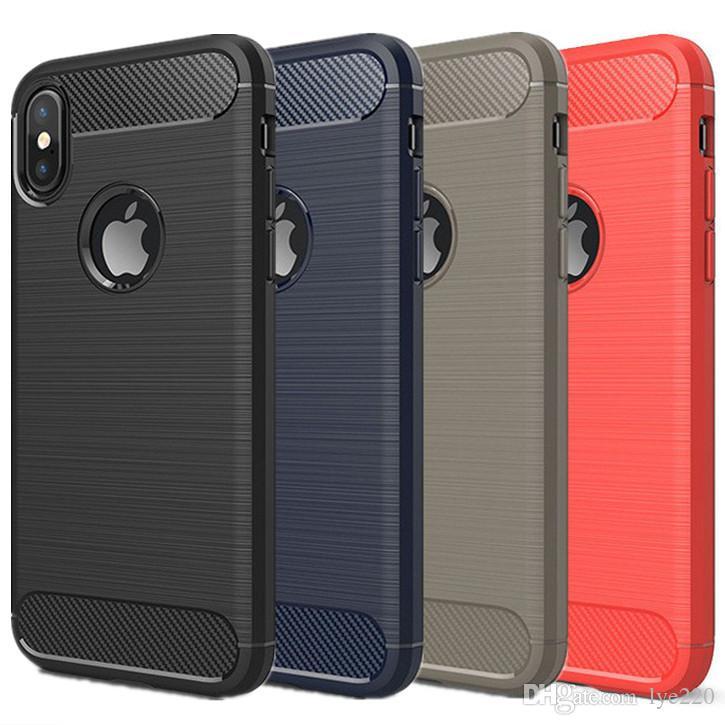 Coque Telephone Portable Pour Iphone X 8 7 6 6 S Plus Téléphone Cas De  Couverture Arrière Tpu En Fiber De Carbone Antichoc Case Phone Protector  Pour Samsung ... 7d7605f33d1