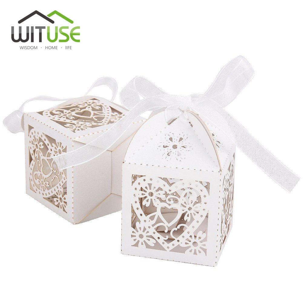 WITUSE Cheap Sale Red/ White/ Gold/ Navy Blue Laser Cut Wedding ...