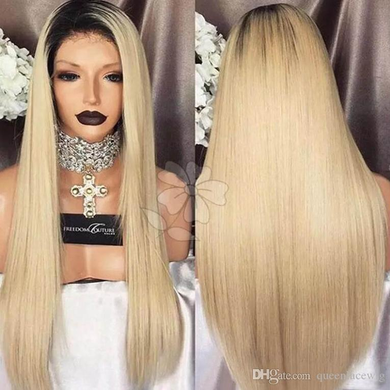 New Cosplay Ombre Wigs Black/Blonde Long Silky Straight Lace Front Wig Heat Resistant Glueless Synthetic Lace Front Wigs for Black Women