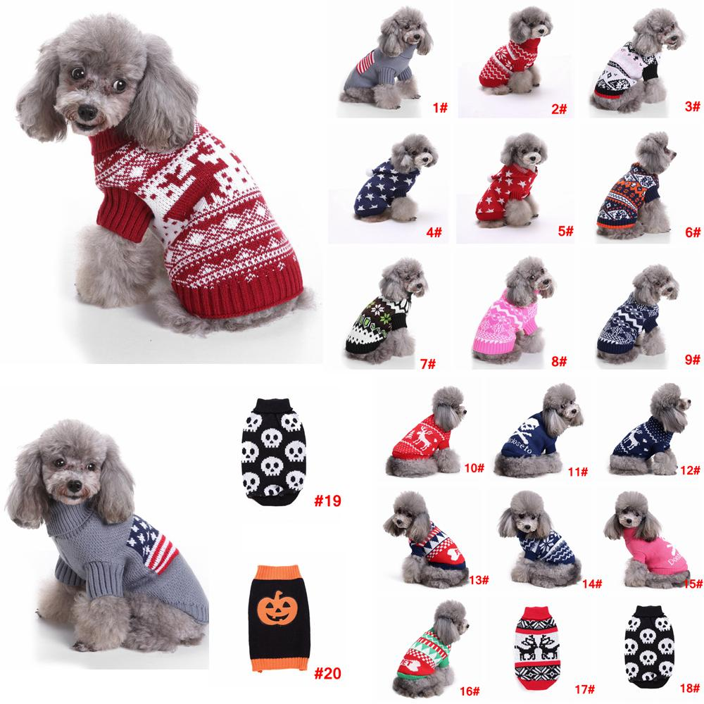2018 s 2xl pet dog christmas sweater striped wapiti knitted turtleneck warm xmas santa claus clothing coat classic pet outfit 20styles aaa861 from