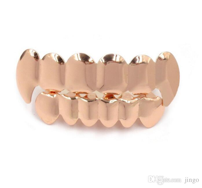 Teeth Grillz Hip Hop Fangs Teeth Gold Silver Rose Gold Gold False Teeth Sets Vampire Grills For women men Dental Grills Jewelry nt
