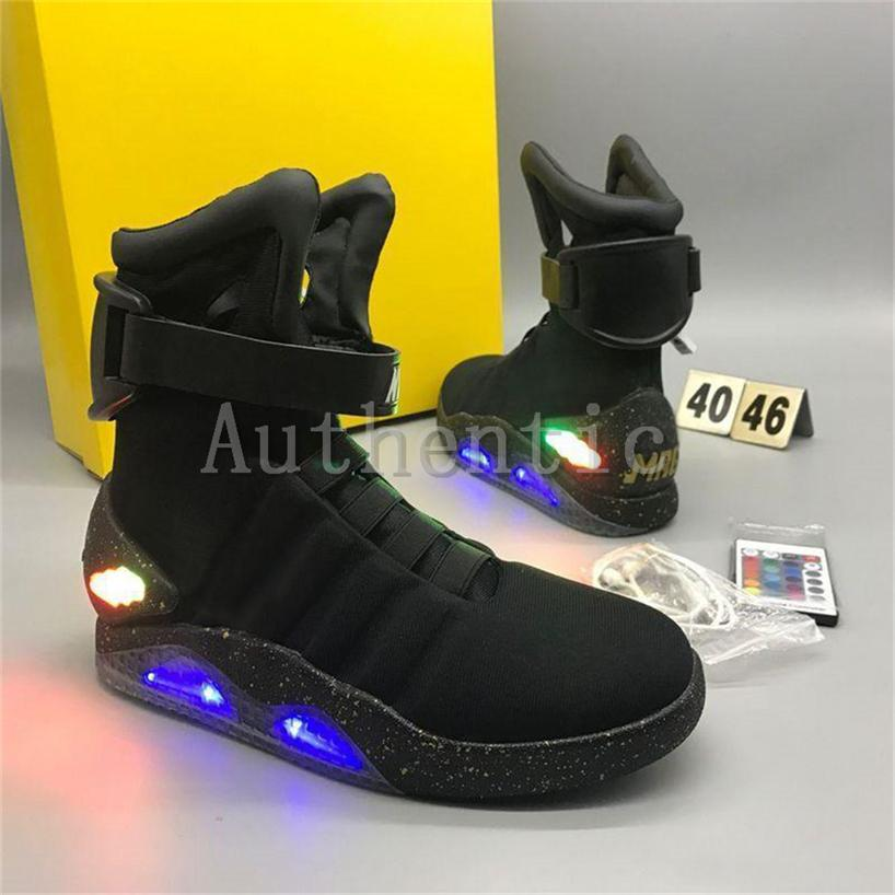 c80df856a549d4 2018 Air Mag Sneakers Marty Mcfly Led Shoes Back To The Future Light Up  Shoes Grey