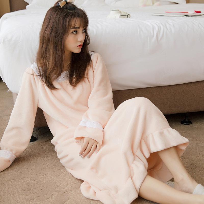 d26a758cf3 2017 Autumn Winter Flannel Princess Nightgowns Women Casual Homewear Warm  Soft Comfortable Sleep Dresses Ruffles Sleepwear Sleepshirts Cute White  Dresses ...