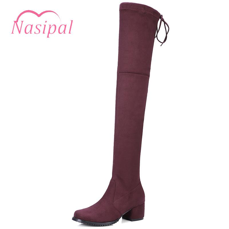 72cbd58986ee Nasipal 2018 Autumn Sexy Women Faux Suede Over The Knee Boots Chunky Mid  Heel Lace Up Stretch Slim Thigh High Boots Big Size 43 Black Boots For Women  ...