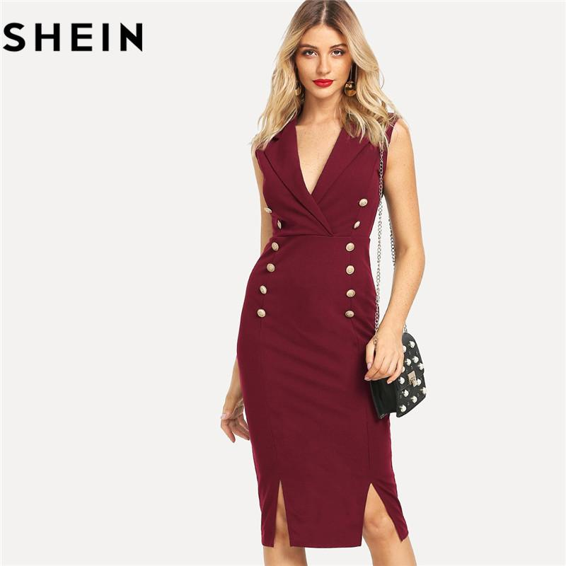 SHEIN Red V Neck Knee Length Split Hem Workwear Women Bodycon Dresses 2018  Summer Office Lady Double Button M Slit Fitted Dress Black Dresses Casual  Black ... fb8d8da32