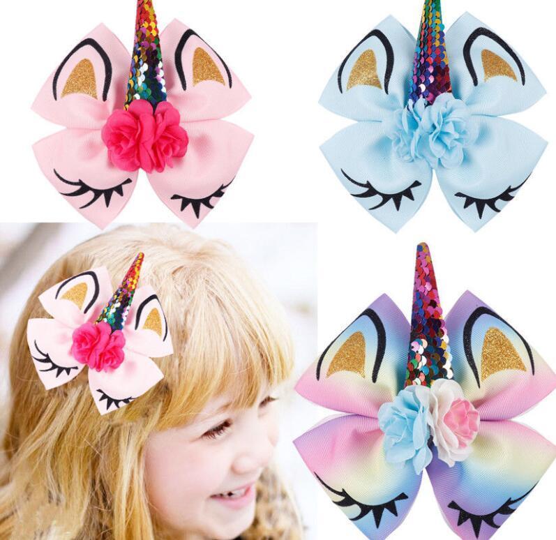 b64d16083fc6 Children s Unicorn Hairpin Horn Sequin Bow Hair Clip Children Bow ...