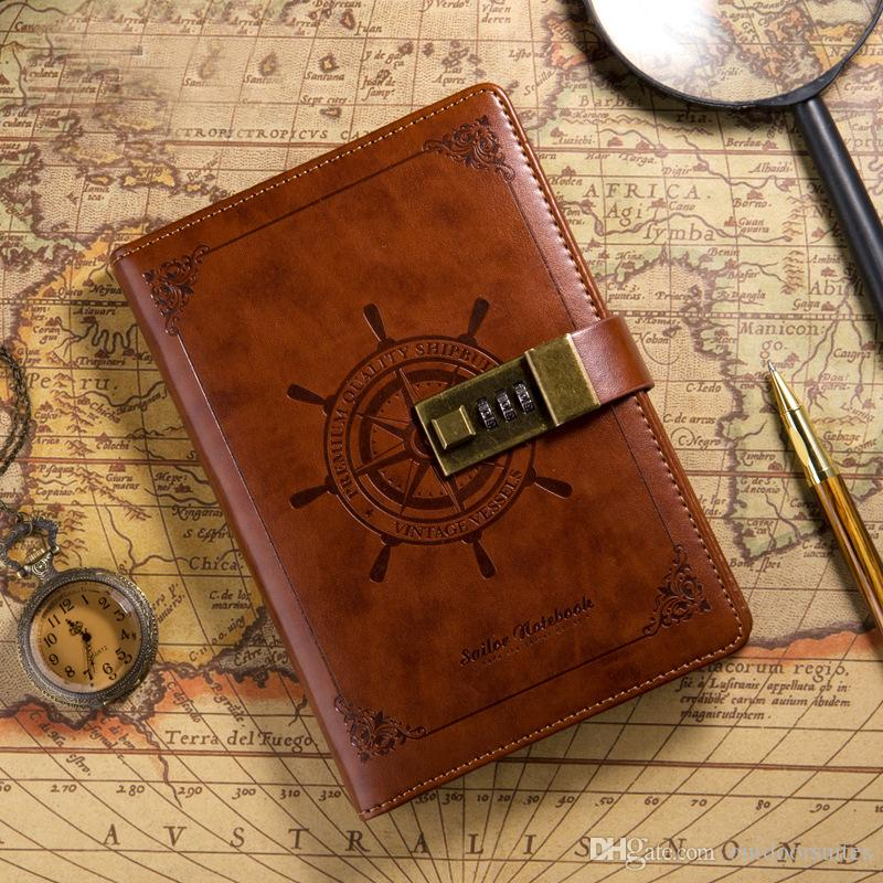 vintage sailor notebook with lock travel journal personal diary b6