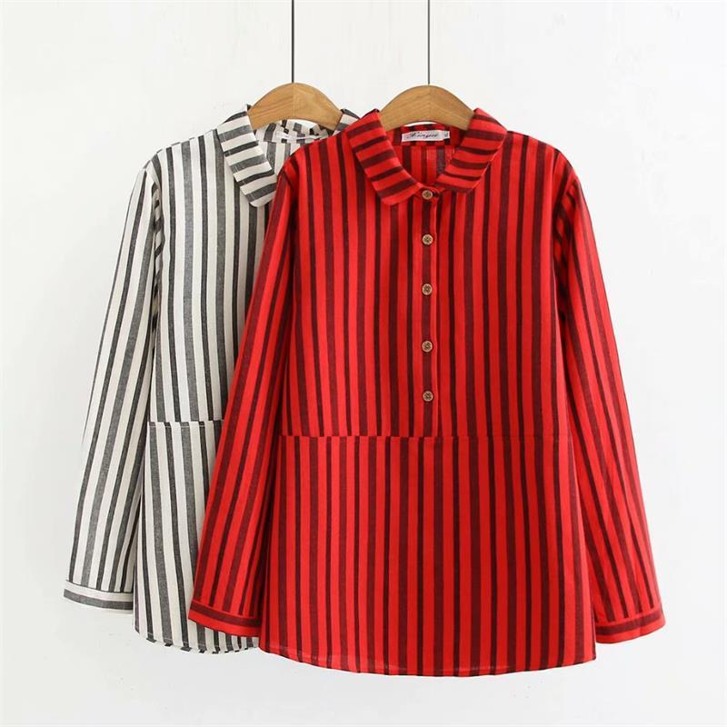 b845cabe0c3 2019 Oversized Plus Size Turn Down Collar Long Sleeve Cotton Linen Blouse  Women 2018 Striped Shirt Spring & Autumn Ladies Tops 4XL From Waistband18,  ...