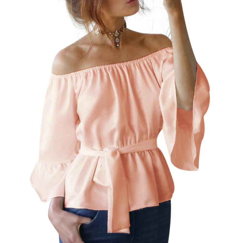 83789e8fa11 2019 Sexy Womens Off Shoulder Blouse Shirt Summer Tops Casual Stretch Flare  Sleeve Shirts Front Tie Female Blouses White Black Pink From Xaviere, ...
