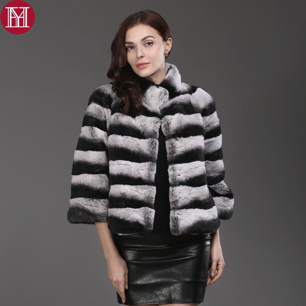 Acquista 2017 Vendita Calda Delle Donne Di Alta Qualità 100% Genuine Rex  Rabbit Fur Chinchilla Colore Inverno Jacke Reale Naturale Rex Rabbit Fur  Coat ... 8de09dd7e2a1